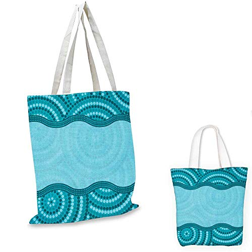 - Seafoam non woven shopping bag Wavy Dotted Pattern with Australian Aboriginal Design Tribal Kakadu canvas tote bagTeal Seafoam Petrol Blue. 16