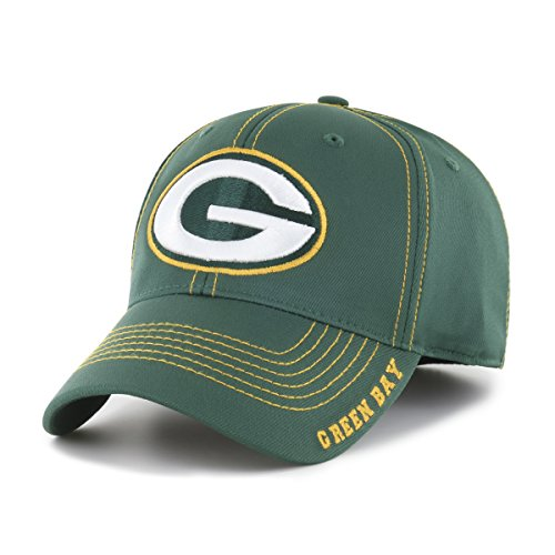 OTS NFL Green Bay Packers Adult Start Line Center Stretch Fit Hat, Medium/Large, (Nfl Logo Cap)