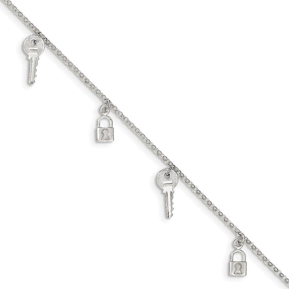 Solid 925 Sterling Silver Polished Lock /& Key Anklet Bracelet with Secure Lobster Lock Clasp 10