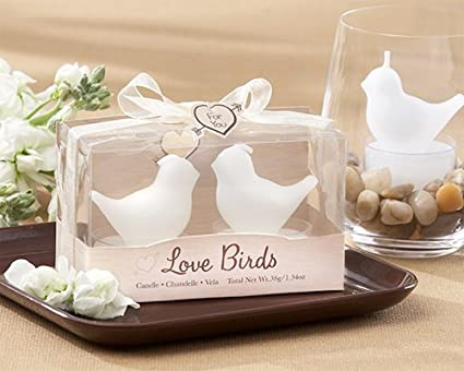 Amazon.com: Wedding Favors Love Birds White Bird Tea Light Candles ...