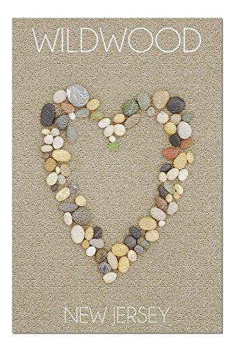 Wildwood, New Jersey - Stone Heart on Sand (20x30 Premium 1000 Piece Jigsaw Puzzle, Made in USA!)