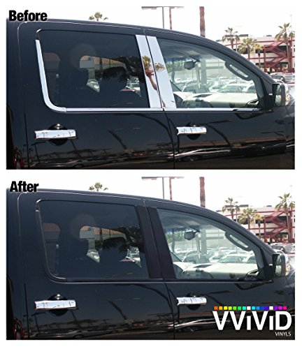 VViViD No-More Chrome Black Vinyl Overlay Wrap Black-Out Strips 2