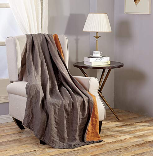 "Chezmoi Collection Brussels Super Soft Lightweight Pre-Washed Belgian Flax Linen Reversible Throw Blanket, 50"" x 70"" - Gray/Orange"