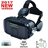 VR EMPIRE 360 Degree Immersive 3D Glasses With Anti-Blue-Light Lenses; 120 degree FOV; Stereo Headset; phone answering button; Virtual Reality Headset VR Goggles Fit For 4.0-6.2 inch Smartphone