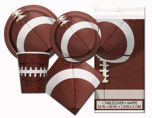 Football Game Day Deluxe Party Pack Serves 16 Plates Cups Napkins & Tablecloth