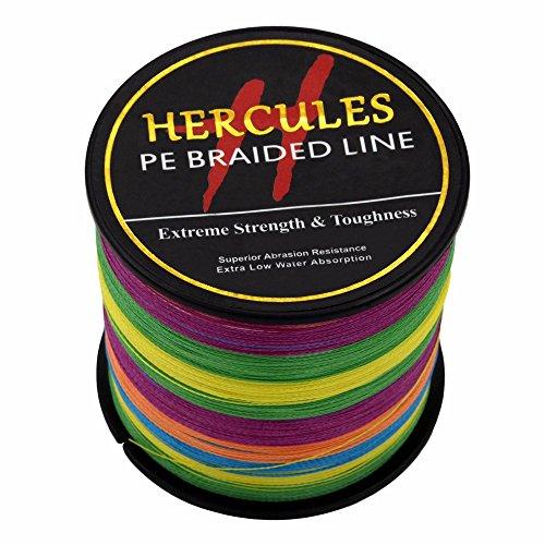 Hercules 1000m 1094yds Multicolor 6lbs-100lbs Pe Dyneema Braided Fishing Line 4 Strands (30lb/13.6kg 0.28mm)