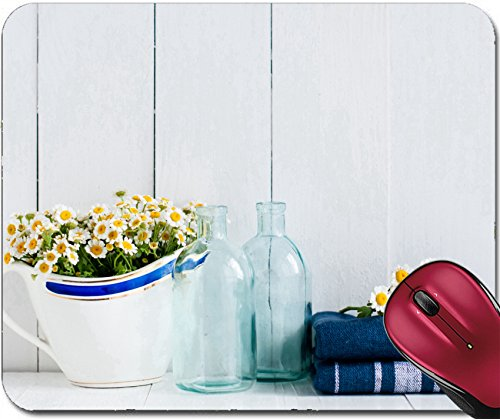 Liili Mousepad Chamomile flowers in vintage ceramic gravy boat glass bottles and navy linen towels on white wooden background home kitchen (Gravy Boat Only)