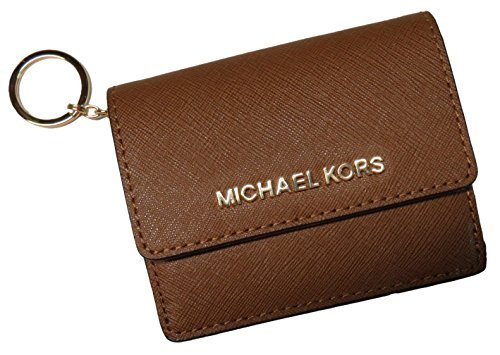 Michael Kors Jet Set Travel Leather Card Case, ID and Key Holder Wallet (Luggage) -
