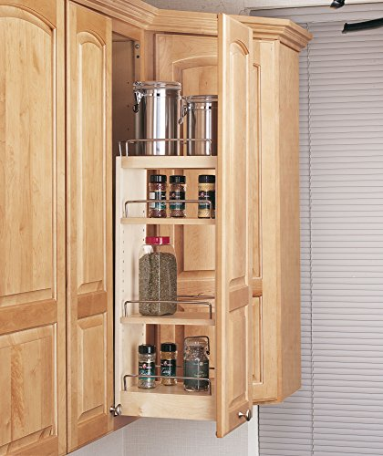 Rev-A-Shelf - 448-WC-8C - 8 in. Pull-Out Wood Wall Cabinet Organizer - Rev A-shelf Wood Pull