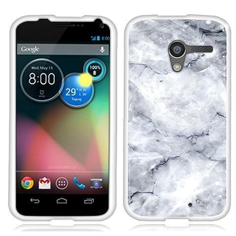 Motorola Moto X Phone XT1058 1st Gen 2013 Case, Fincibo (TM) TPU Silicone Protector Cover Soft Gel Skin, White Shiny (Moto X 1st Gen Phone Covers)