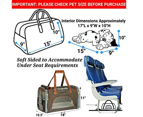 Expandable Airline Approved Sided Pet Carrier - Under Seat Travel with Pad - Premium Zippers & Metal Suitable for Small Check Sizing