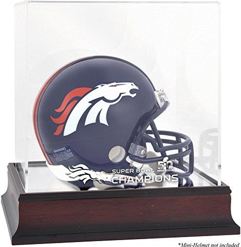 Sports Memorabilia Denver Broncos Mahogany Mini Helmet Super Bowl 50 Champions Logo Display Case - Football Mini Helmet Free Standing Display Cases