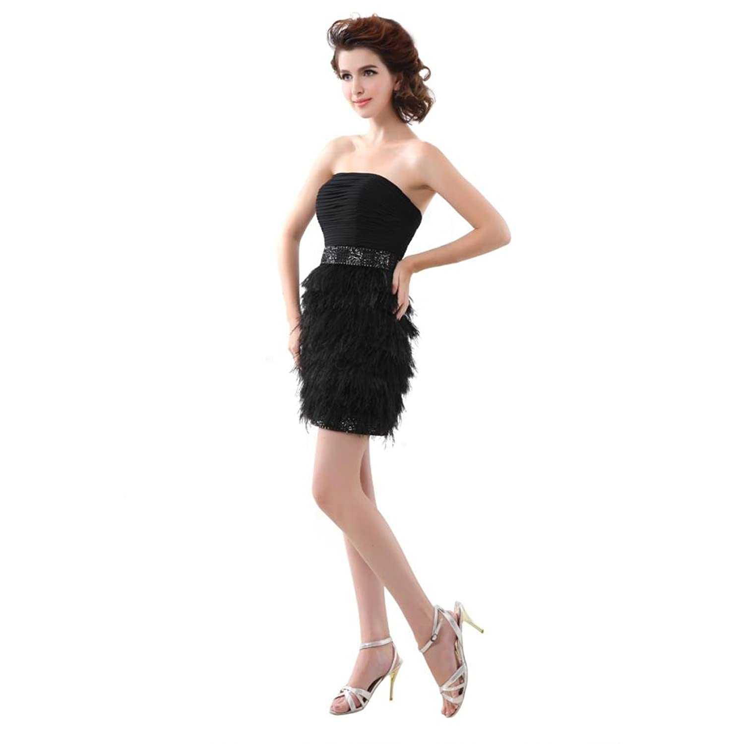 Favebridal Women's Strapless Mini Tiered Homecoming Cocktail Dress