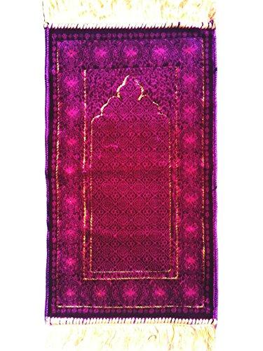 Purple Pointed Arch Design Extra Small Mini Prayer Rug for Kids - Sajadah Prayer Carpet Mat 13.5x23.5-inch