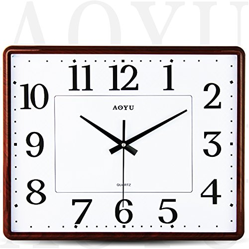 TNKML Large Indoor Decorative Wall Clock Square Country Silent Perpetual Calendar Art Study Classic Living Room Kitchen Bedroom Hanging Table Quartz Creative Clock, 16 Inch, Wood Stripe