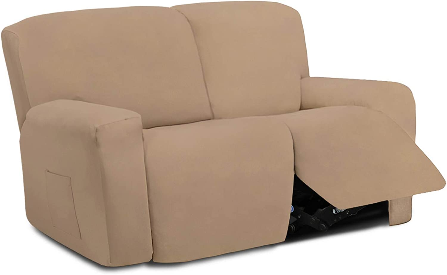 Easy-Going 6 Pieces Microfiber Stretch Sectional Recliner Sofa Slipcover Soft Fitted Fleece 2 Seats Couch Cover, Washable Furniture Protector with Elasticity for Kids,Pet (Recliner Loveseat,Camel