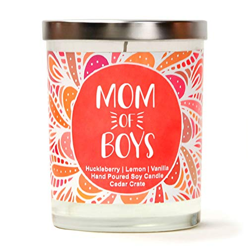 Mom of Boys | Huckleberry, Lemon, Vanilla | Luxury Scented Soy Candles |10 Oz. Jar Candle | Made in USA | Decorative Aromatherapy | Birthday Gifts for Mom | Presents for Mom | Best Mom Gifts