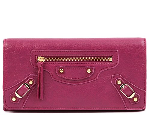 Wiberlux Balenciaga Women's Textured Real Leather Front Flap Long Wallet