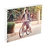 good looking acrylic glass block Cq acrylic 8x10 Acrylic Frame, Magnetic Picture Frames, Clear, 10 + 10MM Thickness Stand in Desk/Table,Pack of 1