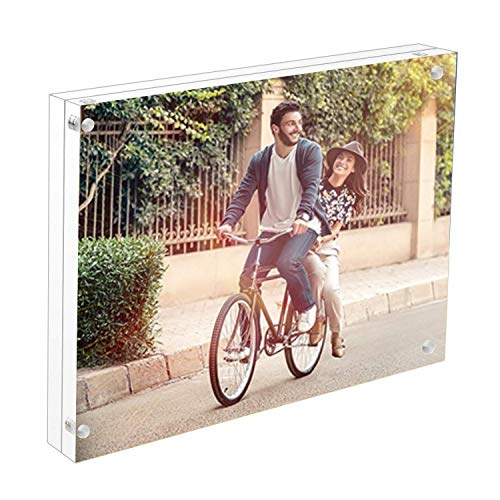 Cq acrylic 3pack 4x6 Acrylic Frame, Magnetic Picture Frames, Clear, 10 + 10MM Thickness Stand in Desk/Table