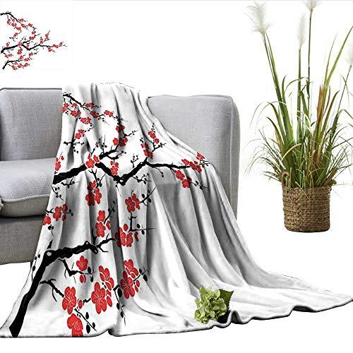 ScottDecor Japanese Full Size Blanket Simplistic Cherry Blossom Tree Asian Botanic Themed Pattern Fresh Organic Lines Art Charisma blanke Red Black W70 xL90 ()