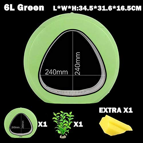 Green 6L Green 6L KHTO Ecology Fish Tank Integration Filter LED Light System Mini Nano Tank Office Aquarium 6L 110V-240V