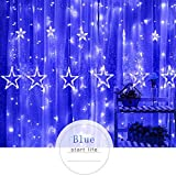 Hot Sale!DEESEE(TM)2.5M LED Stars Christmas Hanging Curtain Lights String Xmas Home Party Home Decor (Blue)