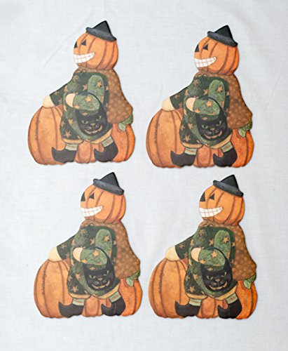 Trick-or-treating Jack-o'-lantern Halloween Print Absorbent Beverage Coasters with Cork Backing (Pack of 4) Artwork By Teresa Kogut