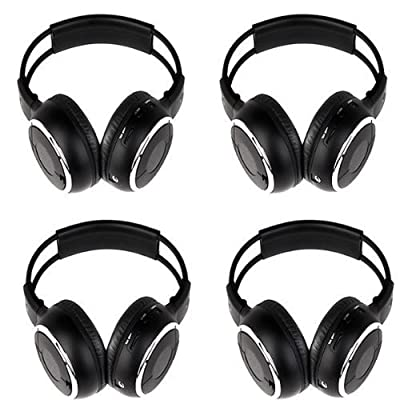 New arrival! 4 Pack of Two Channel Folding Universal Rear Entertainment System Infrared Headphones Wireless IR DVD Player Head Phones for in Car TV Video Audio Listening