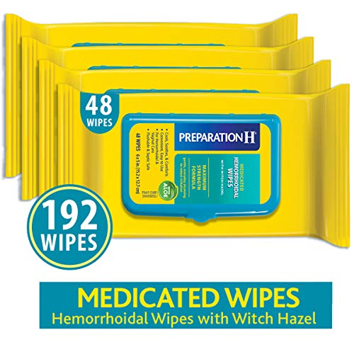Preparation H Flushable Medicated Hemorrhoid Wipes, Maximum Strength Relief with Witch Hazel and Aloe, Pouch (4 x 48 Count, 192 ()