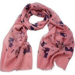 Cat Print Cotton Scarf CSJ-L- 36 (Pink)
