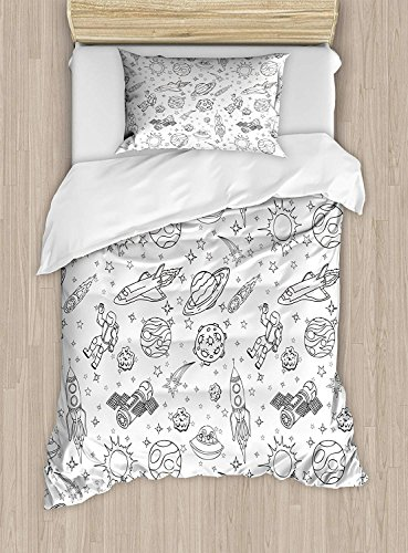 Big buy store Boy's Duvet Cover, Doodle Solar System Astronauts Space Crafts and Shooting Stars Science Fiction Theme, Decorative 4 Piece Bedding Set with 2 Pillow Sham, Black White(Twin) by Big buy store