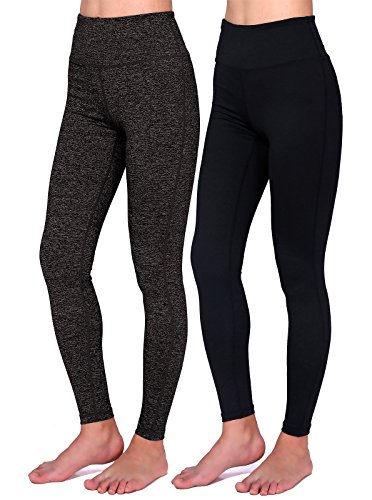Daisity Women's Yoga Pants - Gym Activewear Slim Spandex Tights - Hidden Pocket Color Black BlackGrey Pack Of 2 Size XL