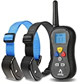 """Patpet Dog Training Collar, Remote Controlled, Shock for Dogs, Professional, User-friendly, Anti Bark, 330yd (1 Blue & 1 Black collar , Neck Size 7""""-27"""")"""