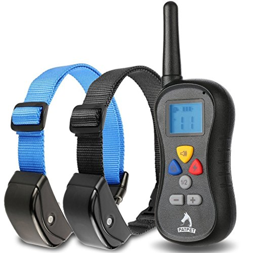 "Patpet Dog Training Collar, Remote Controlled, Shock for Dogs, Professional, User-friendly, Anti Bark, 330yd (1 Blue & 1 Black collar , Neck Size 7""-27"")"