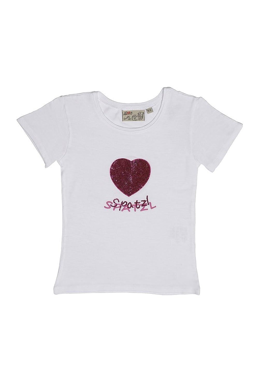 Lekra Mädchen Shirt weiß mit Paillettenherz Spatzl 140078