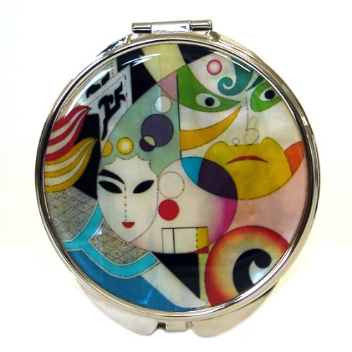 Mother of Pearl Woman Man Face Design Double Compact Magnifying Cosmetic Makeup Handbag Pocket Beauty Purse Mirror