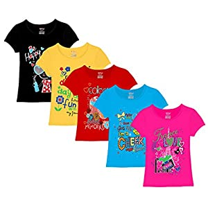 Kiddeo Girls' T-Shirt (Pack of 5)