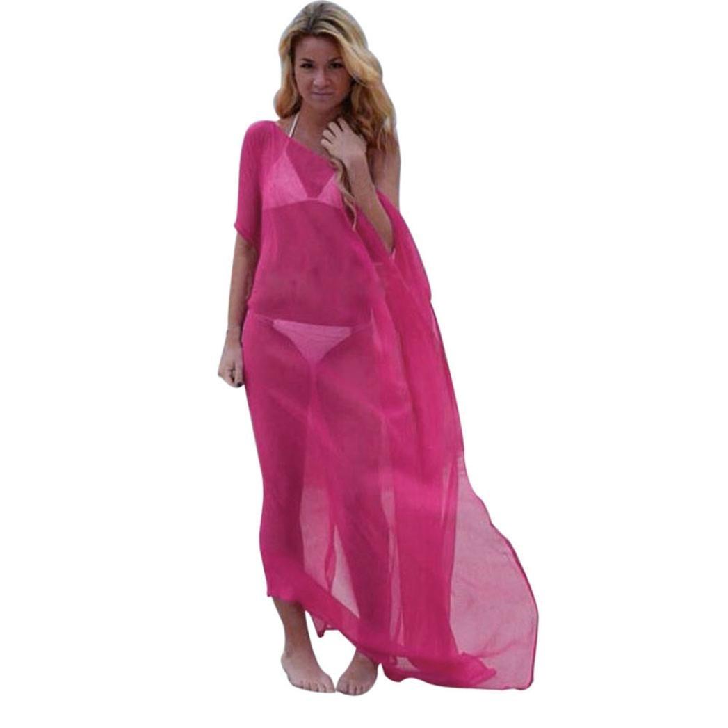 LONUPAZZ Chemise Robe Longue Femme Chic Soie Bikini Cover Up Robe Maillot de Bain de Plage Chemisier sunset