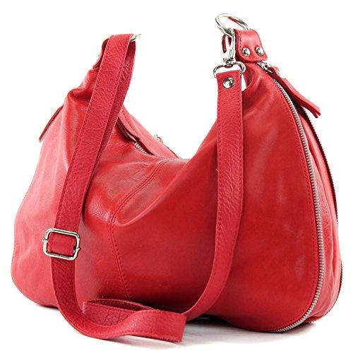 modamoda de - Made in Italy T56 - Bolso bandolera de piel napa italiana, para mujer Rot