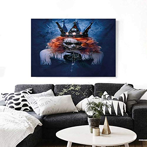 Queen Canvas Wall Art Queen of Death Scary Body Art Halloween Evil Face Bizarre Make Up Zombie Print Paintings for Home Wall Office Decor 28