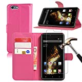 BLU Energy X2 Leather Wallet Case + Screen Protector, Gzerma Lightweight PU Leather Stand View Feature with Card Slots Cover and Bubble Free Protective Film for BLU Energy X 2 (Pink)
