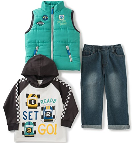 Kids Headquarters Baby 3 Pieces Vest Set - Raglan Tee, Green, 12 Months