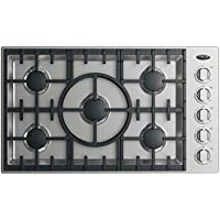 DCS CDV2-365H-L 36 Drop-In Cooktop with 5 Sealed Halo Burners Dual Flow Burners 20000 BTU Max Burner Power and LED Halo Knobs Control: Stainless
