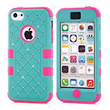 5C Case,Lantier Bling Diamond Design [ 3 in 1 Shield Series ] Hybrid Shockproof Case for Apple iPhone 5C with Soft Silicone Inner and Hard PC Outer Cover Bling Star Blue+Hot Pink