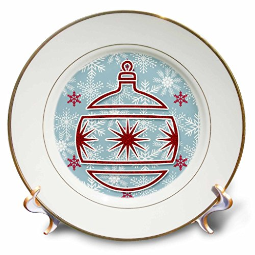 3dRose Doreen Erhardt Christmas Collection - Simple Christmas Ornament Sticker Style in Red with Blue Snowflake - 8 inch Porcelain Plate (cp_264305_1) by 3dRose (Image #1)