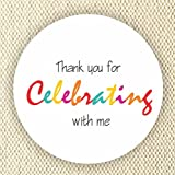 Colorful Favor Stickers - Baby Shower Stickers - Rainbow Colors stickers- Thank you for Celebrating with me - Set of 40 stickers