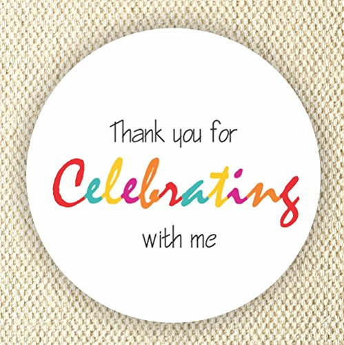 Colorful Favor Stickers - Baby Shower Stickers - Rainbow Colors stickers- Thank you for Celebrating with me - Set of 40 stickers by Philly Art & Crafts