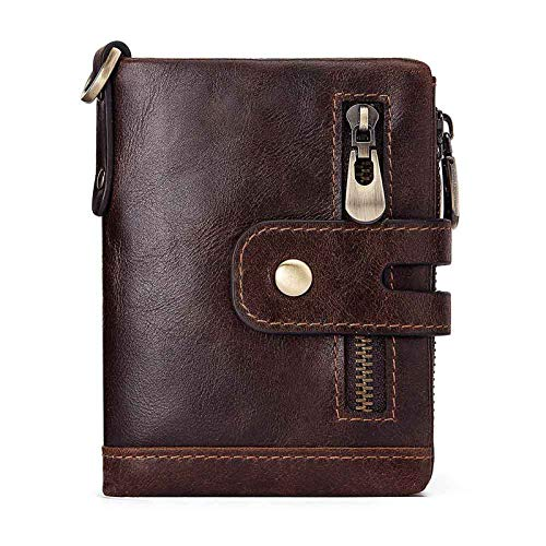 Adisaer-Leather Wallets for Men Brown Crocodile Type Square Change Purse Wallets Pocket