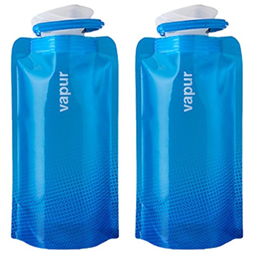 Vapur Shades .5L Collapsible Water Bottle - Cyan Blue - 2 Pack